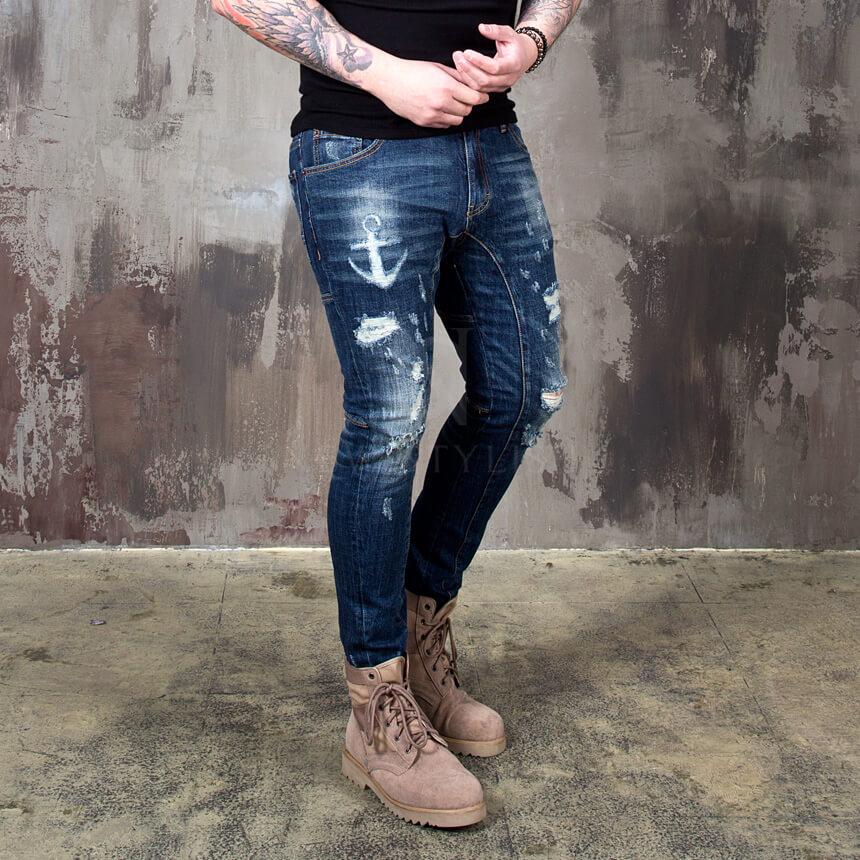 NewStylish Mens Fashion Anchor scratch washed blue slim jeans