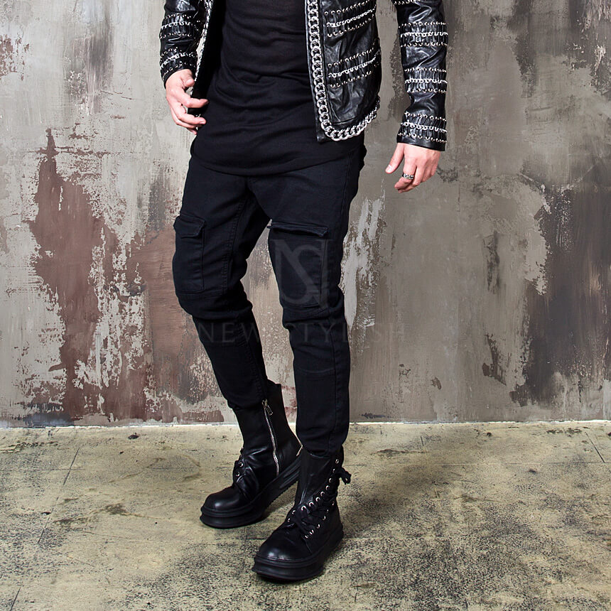 NewStylish Mens Casual Fashion Metal zipper front cargo pocket banding pants