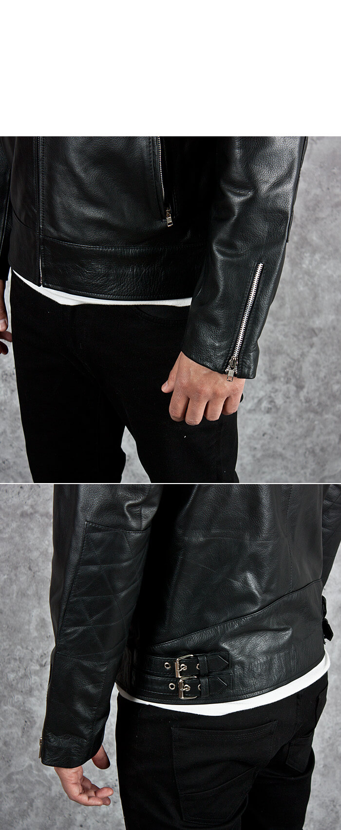 Outerwear Quilted Shoulder Accent Black Leather Jacket