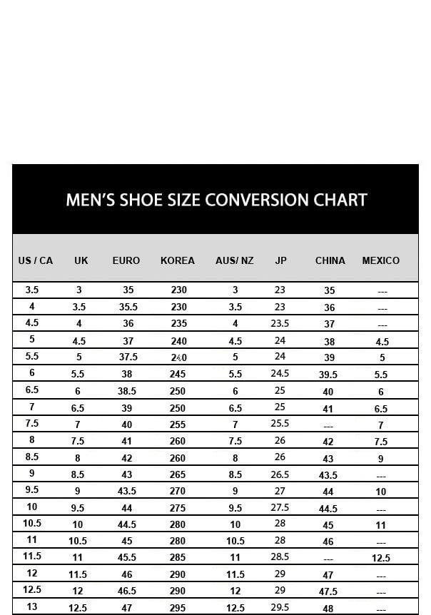 Bodyline Shoe Size Chart Ibovnathandedecker