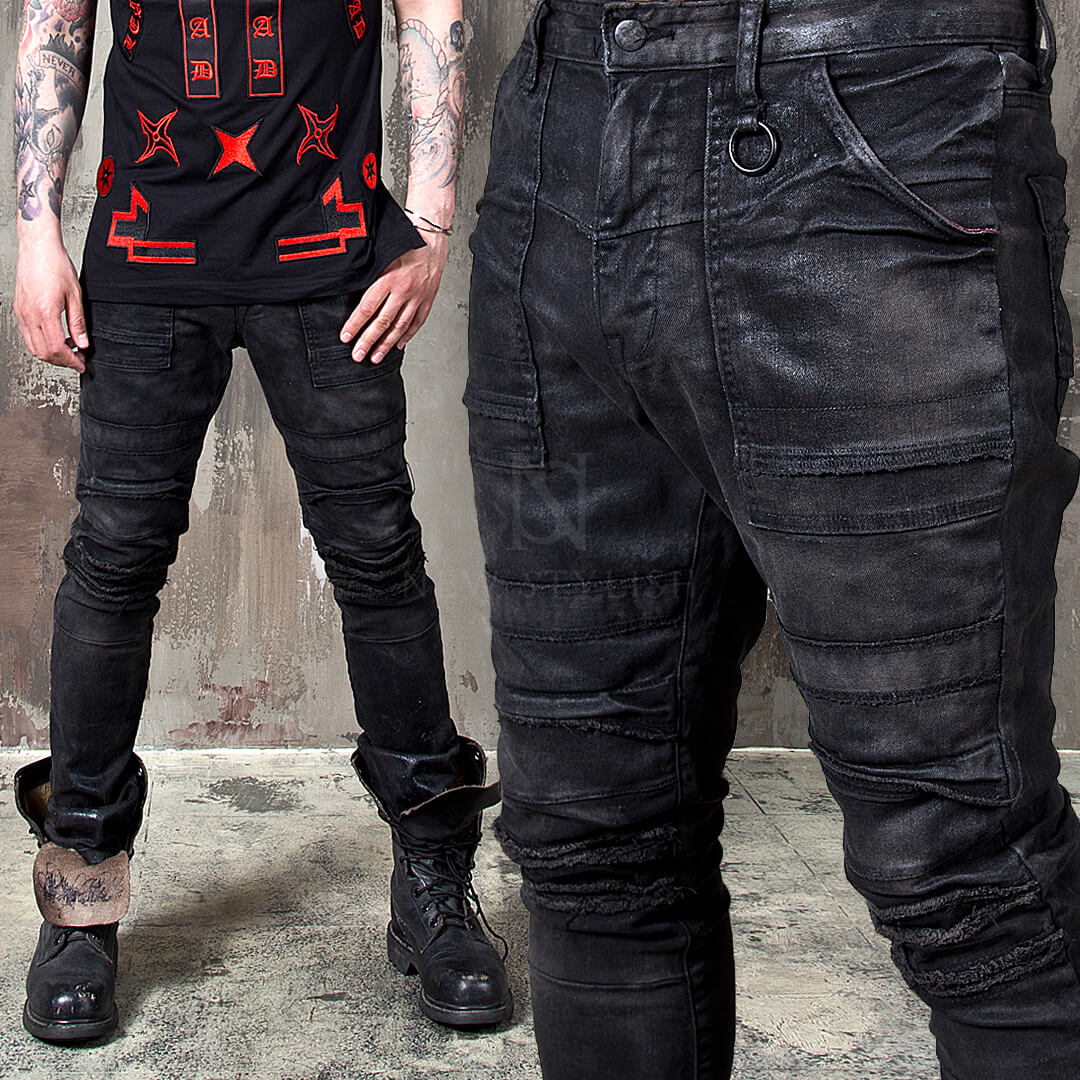 Bottoms - Avant-Garde Hardcore Wax Coated Slim Black Biker ...