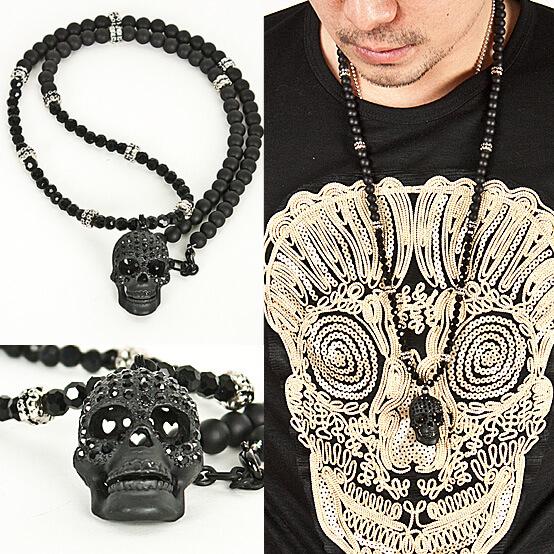 Accessories super unique cubic black skull pendant beads necklace super unique cubic black skull pendant beads necklace 34 aloadofball Gallery