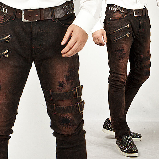 Bottoms - Extreme Vintage Double Belt Accent Grunge Wine Slim Jeans - 83 For Only 67.00