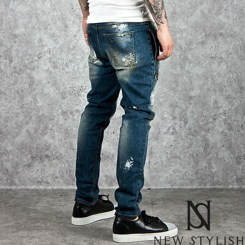 Bottoms ★sold Out★ Stain Washed Square Pocket Blue Denim