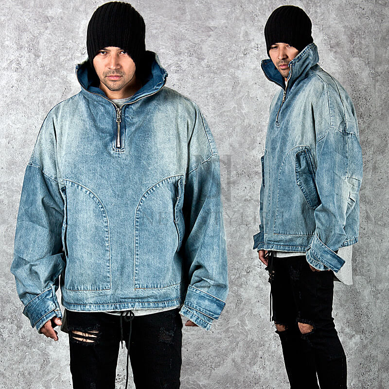 Outerwear Half Zip Up Wide Fit Denim Jacket 218 For Only 69 00