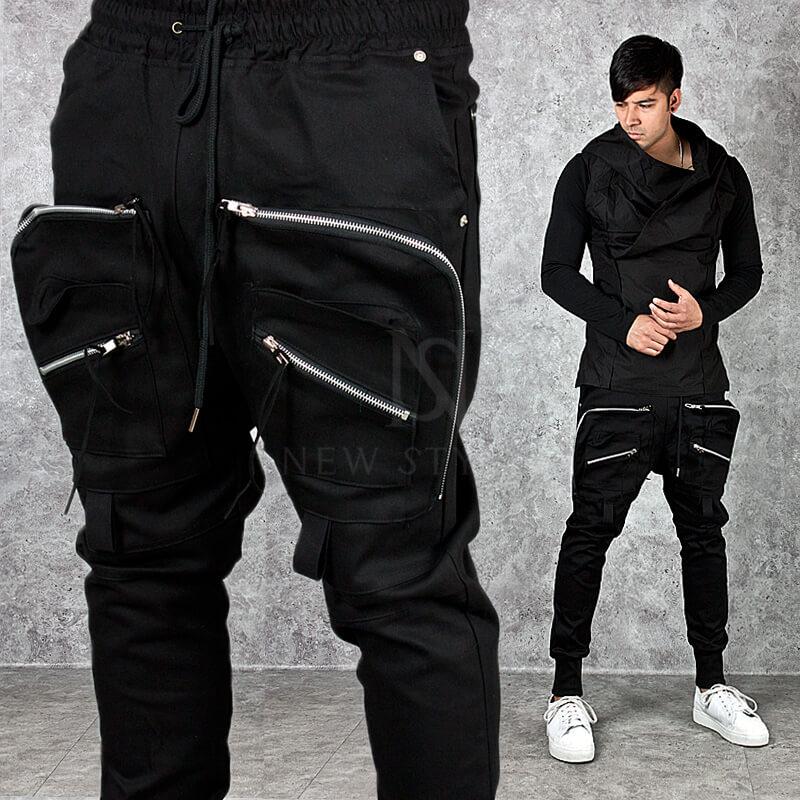 Bottoms Full Front Cargo Pocket Accent Black Jogger