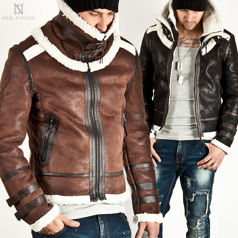 Outerwear Lamb Wool Lining Crack Leather Double Face