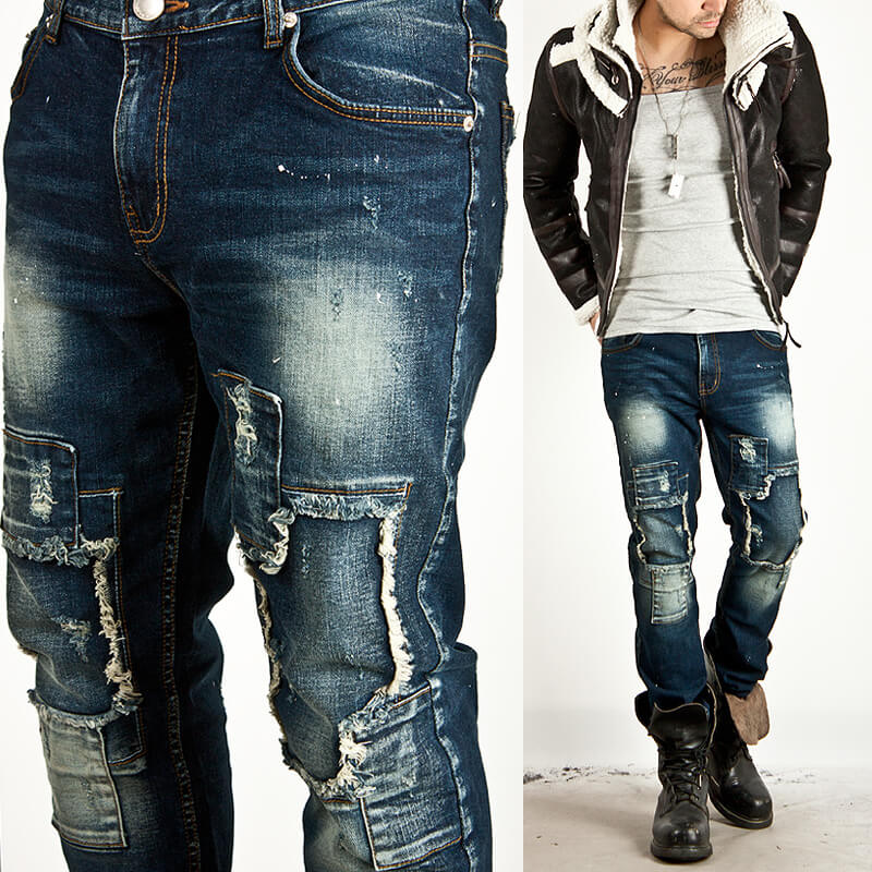 c496b2f7ec Bottoms - ☆SOLD-OUT☆ HARD DISTRESSED PATCHWORK BLUE DENIM JEANS ...