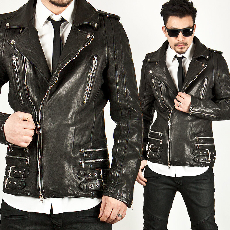 9d614ddca Lambskin double-belted rider leather jacket - 45