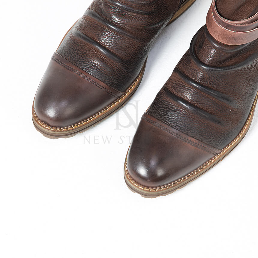 NewStylish Mens Shoes Coiled Belt Aged Look Wrinkle Cowhide Leather Boots