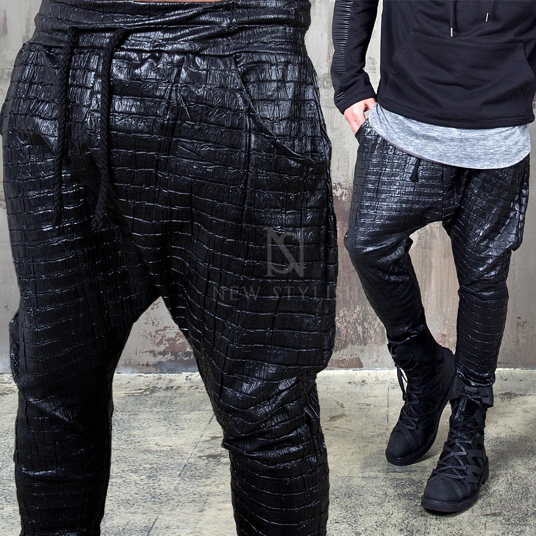 Bottoms Crocodile Pattern Black Baggy Pants 162 For
