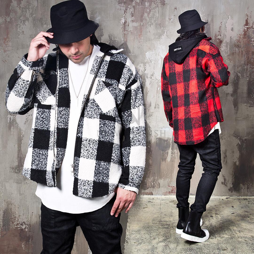 checkered hooded round hem zip up jacket