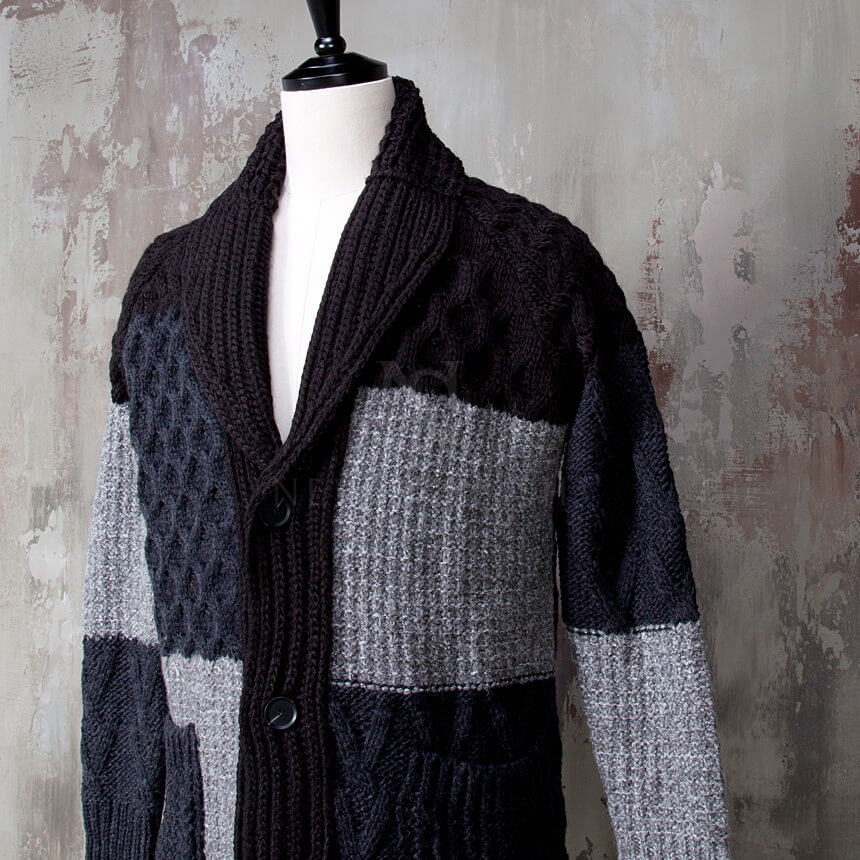 Outerwear - Multiple contrast twisted pattern knit shawl ...
