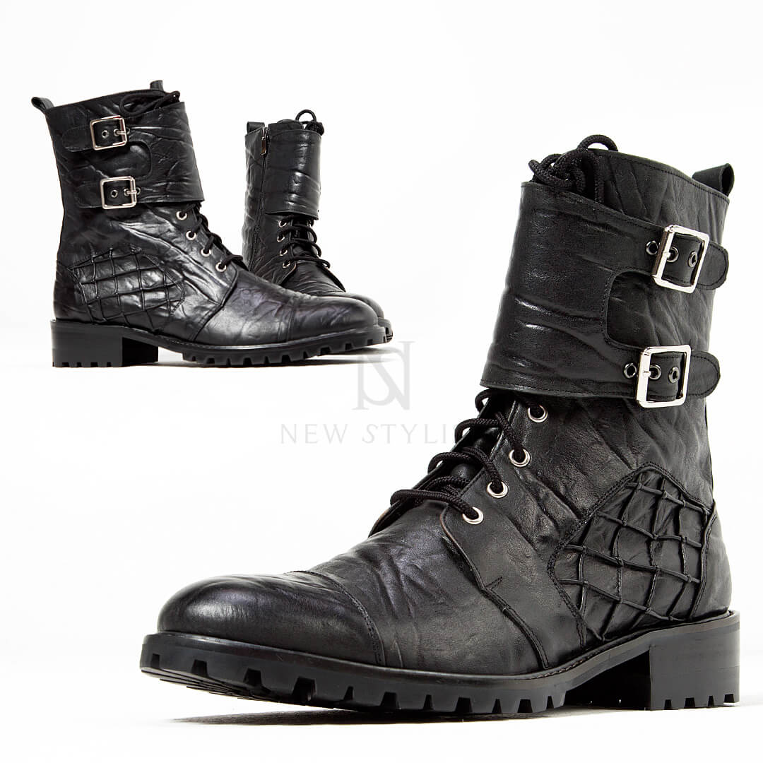 fd74cf5cd3 Elephant patterned leather biker boots - 426