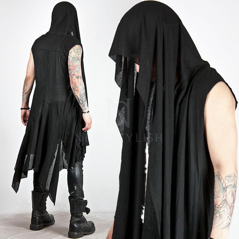 Outerwear Avant Garde Draping Long Sleeveless Hood
