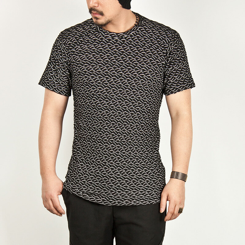Tops ★sold Out★ Wave Pattern Slim Round Tee 299 For