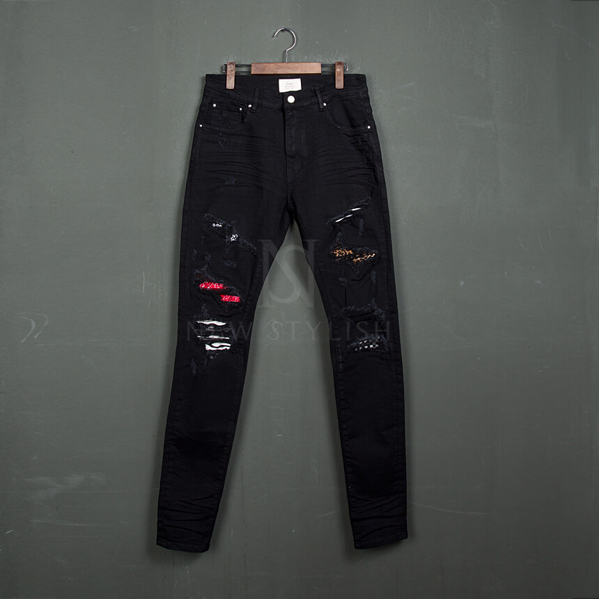 cc1d3276b Bottoms - Artistic pattern layered distressed black jeans - 387 for ...