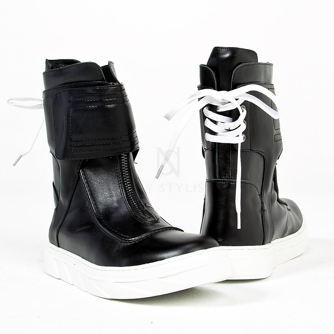 Lace-up back high-top sneaker boots