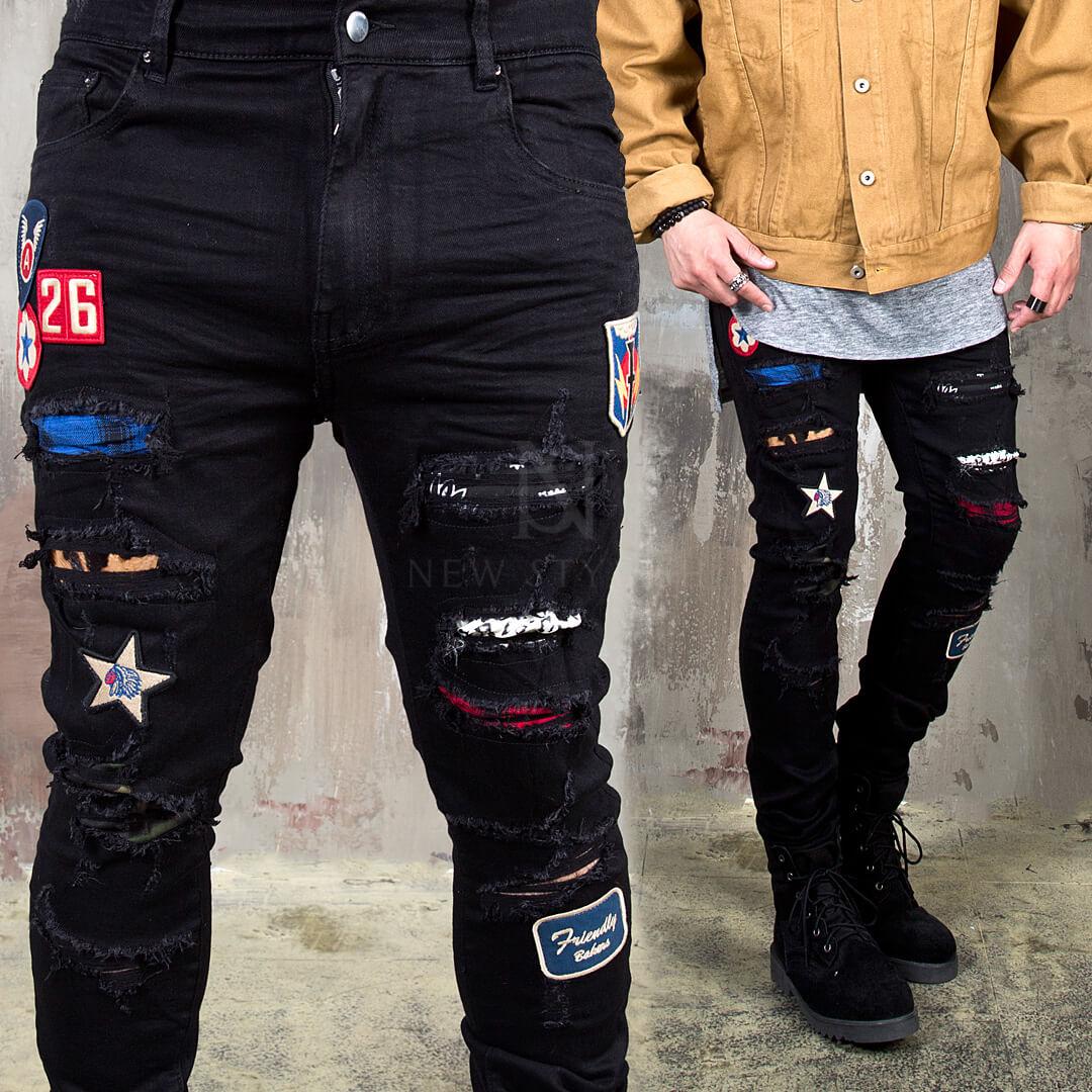 heiß-verkaufender Fachmann Outlet-Verkauf Preis vergleichen Multiple wappen accent damaged black slim jeans - 408
