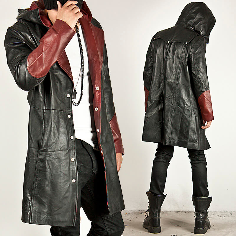 Outerwear Black Red Contrast Leather Hood Long Coat 52