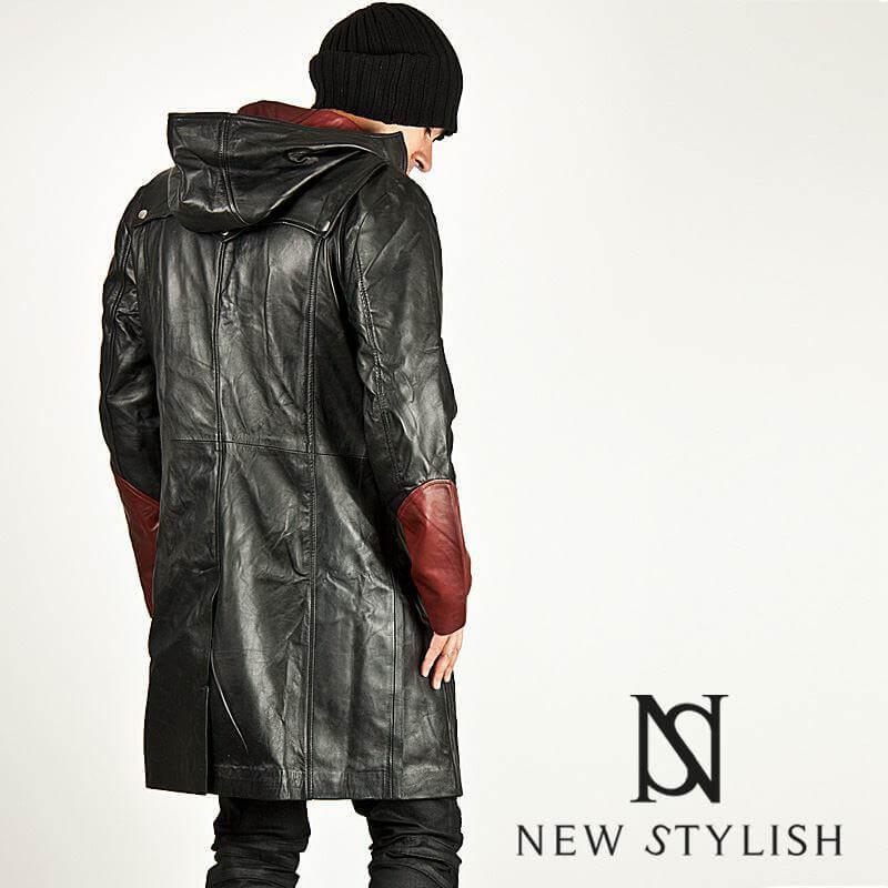 f6aa550b2 Black/red contrast leather hood long coat - 52