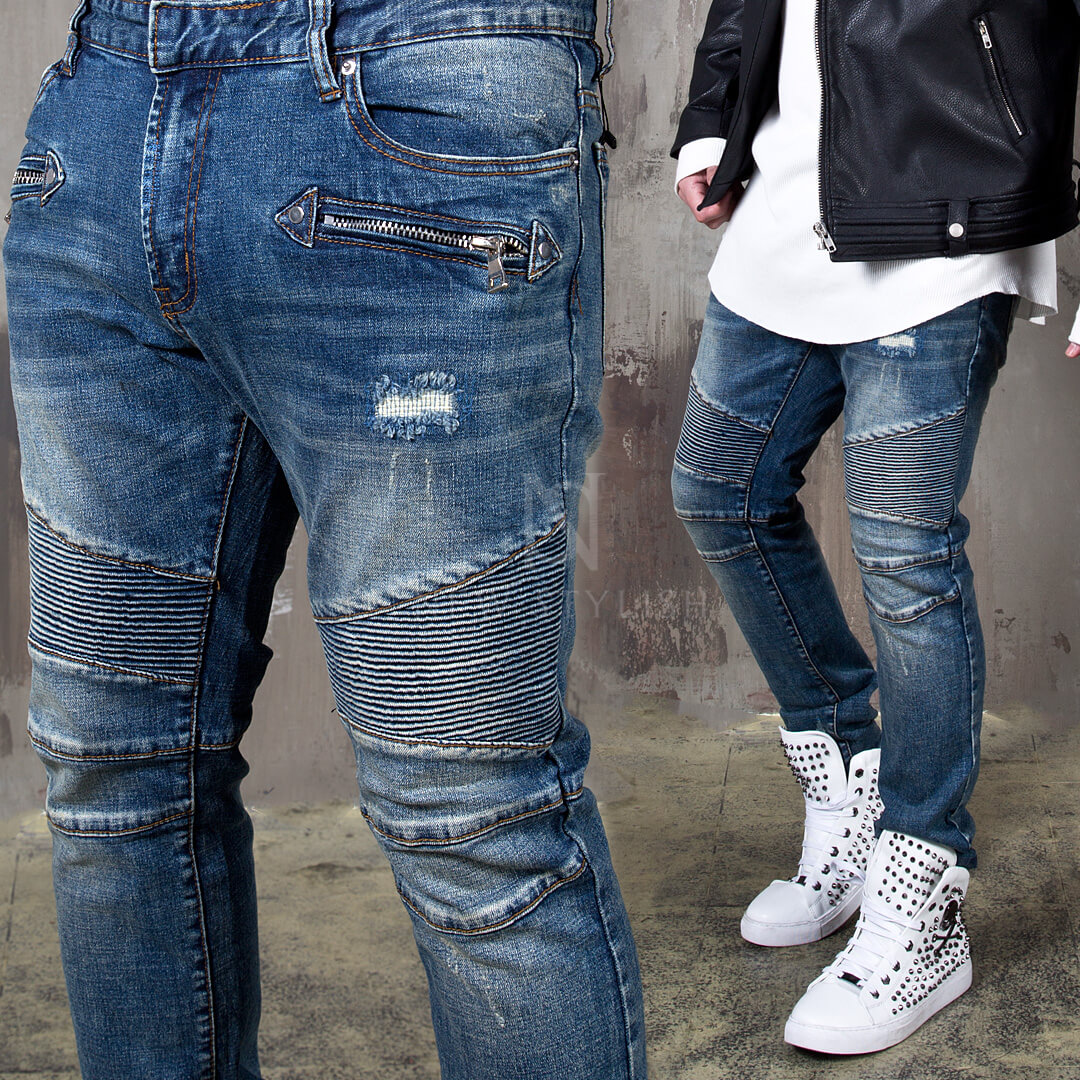 Bottoms - Distressed pintuck blue denim biker jeans - 428 for only 59.00 !!!