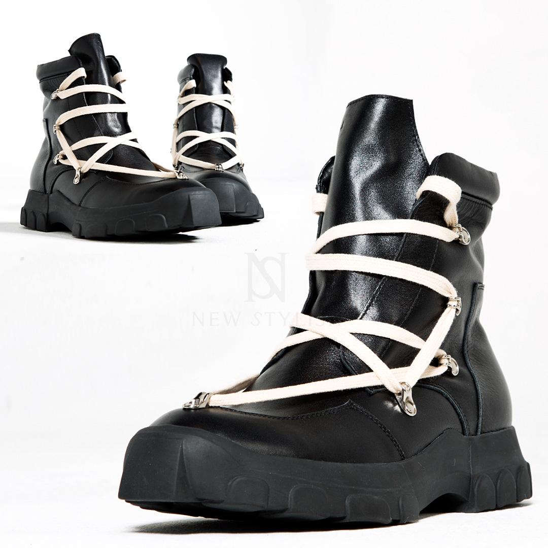 Unique lace black high-top boots - 481