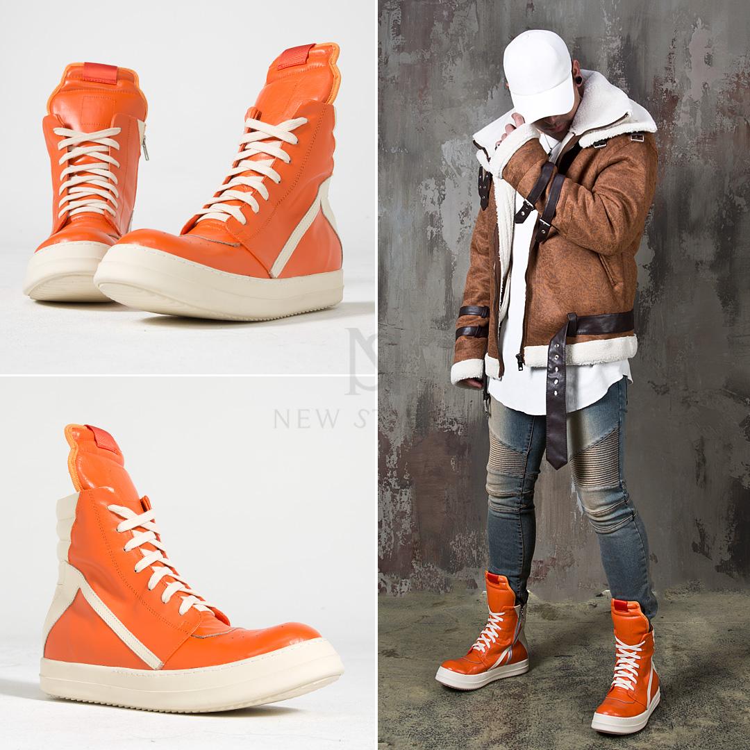 Contrast orange high-top sneakers