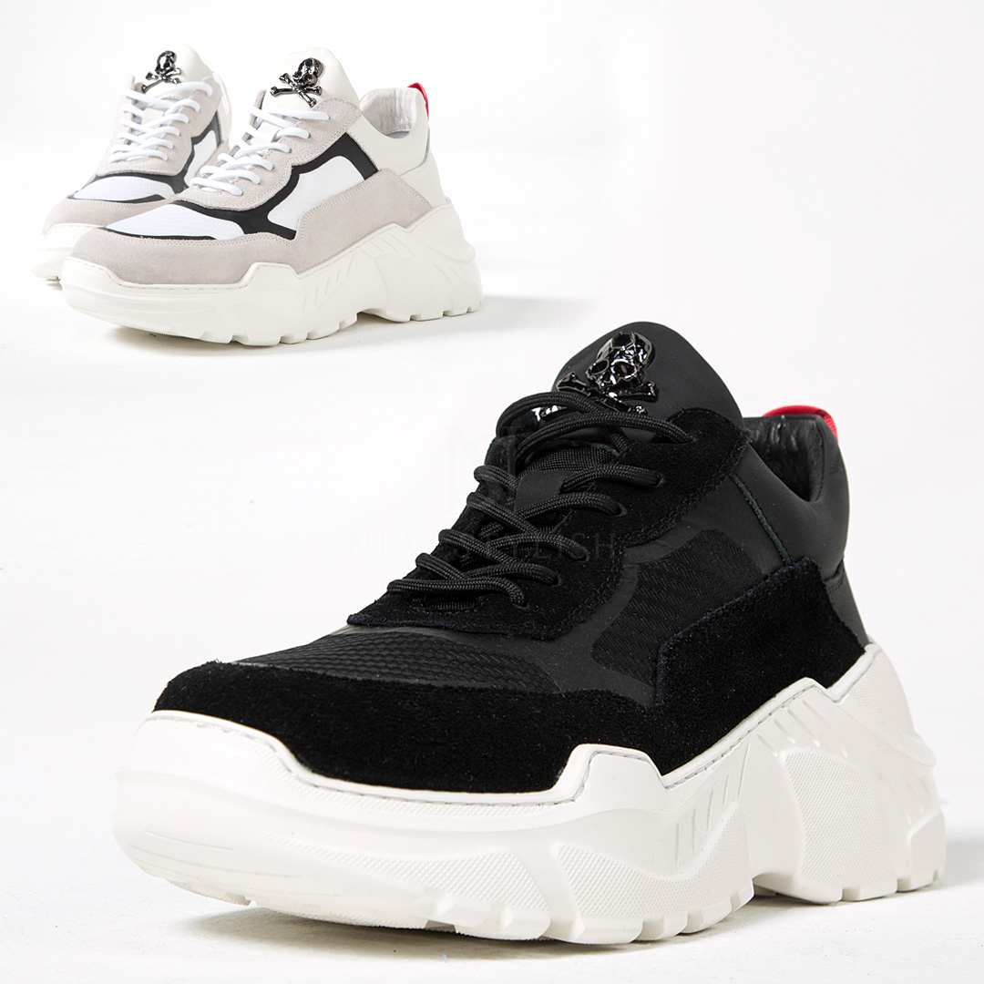 Contrast thick sole skull sneakers