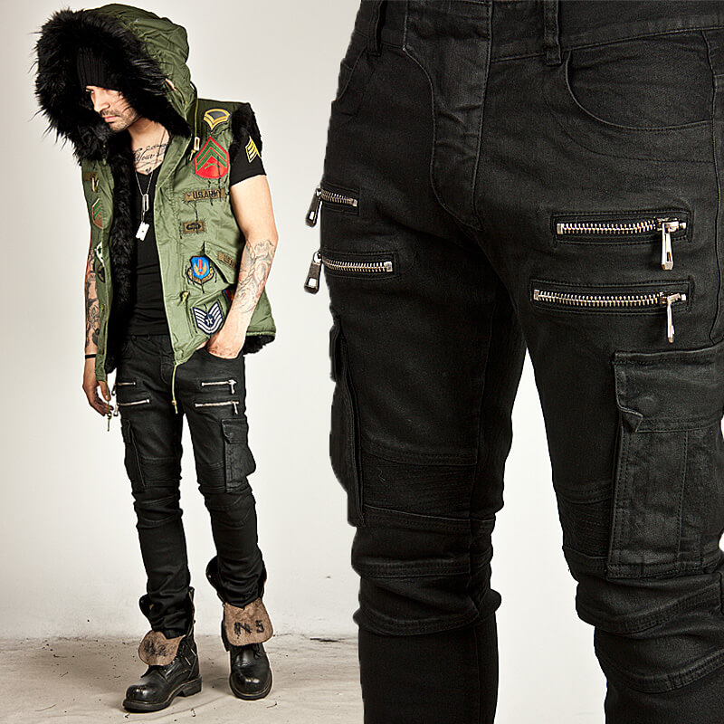 Bottoms Double Zipper Accent Pintuck Cargo Coated Black