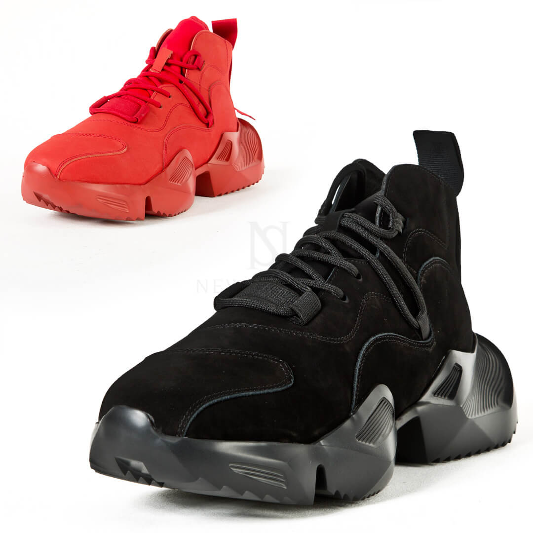 Chunky outsole mid-top sneakers