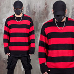 Contrast striped loose fit knit sweater