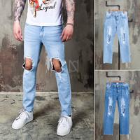 ripped knee hole denim jeans