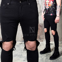 ripped knee slim jeans
