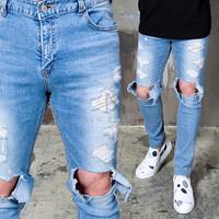 ripped knee denim jeans