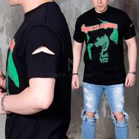 sleeve cutting black round t-shirts