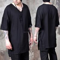 black v-neck boxy elbow shirts