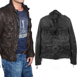 Military Crinkle Leather Jacket
