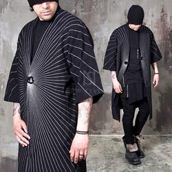 striped long linen coat