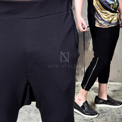 strap zipper baggy pants