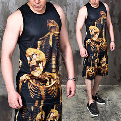 gold skeleton mesh tank