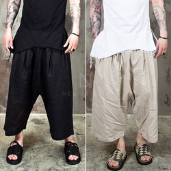 linen baggy drawcord crop pants