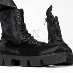 Oversized tongue black lace-up boots