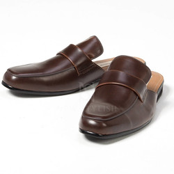 Leather flat slipper shoes