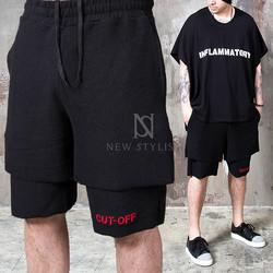 black drawcord sweat shorts