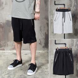 distressed cut zipper sweat shorts