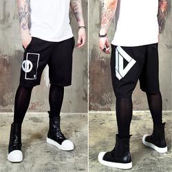 emblem printed drawcord shorts