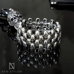 Multi gothic skull link bracelet