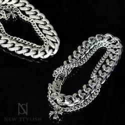 Celtic cross charm double chain bracelet