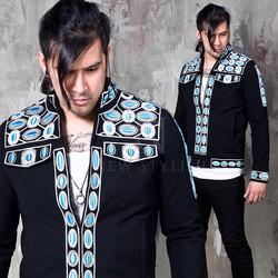 embroidered slim jacket